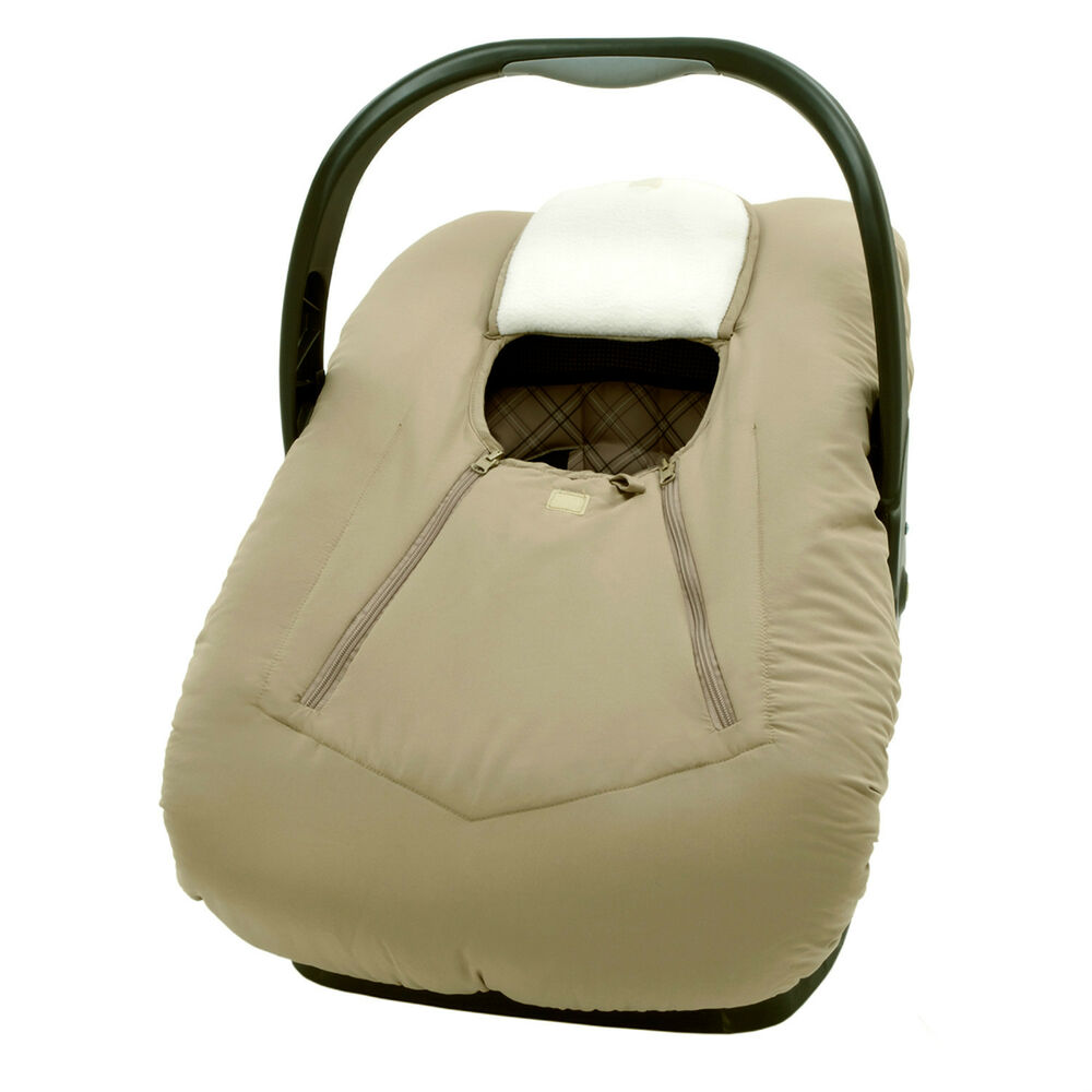 infant car seat carrier cover or bunting bag for baby taupe microfiber ebay. Black Bedroom Furniture Sets. Home Design Ideas