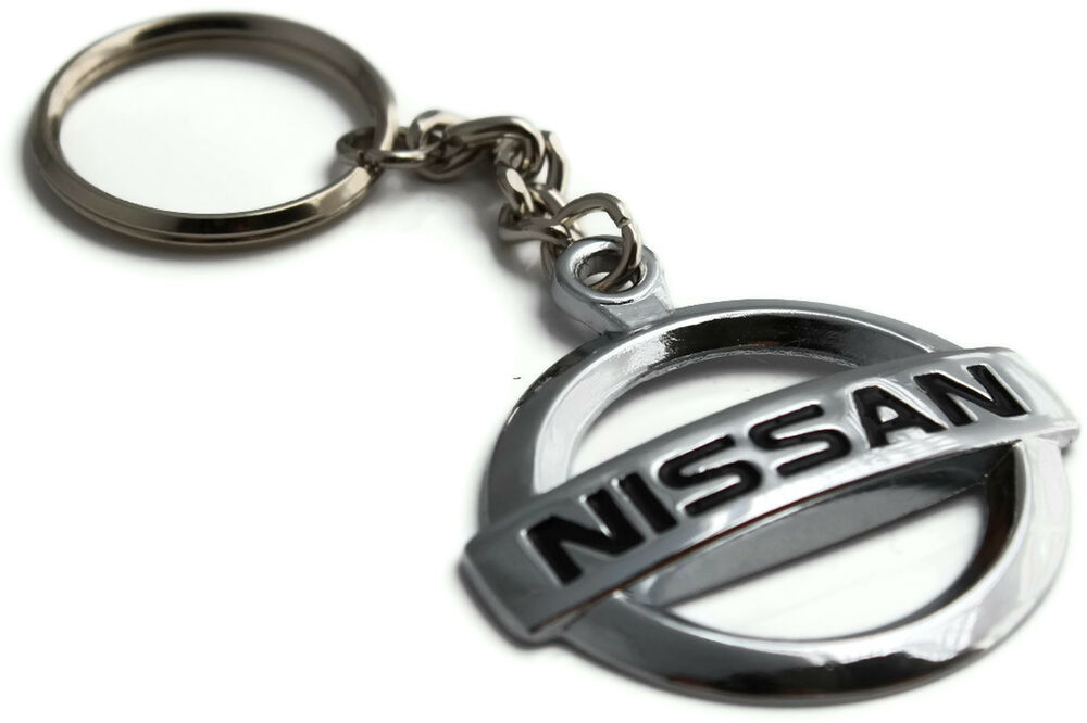 Nissan Logo Key Chain Mirror Chrome Metal Authentic