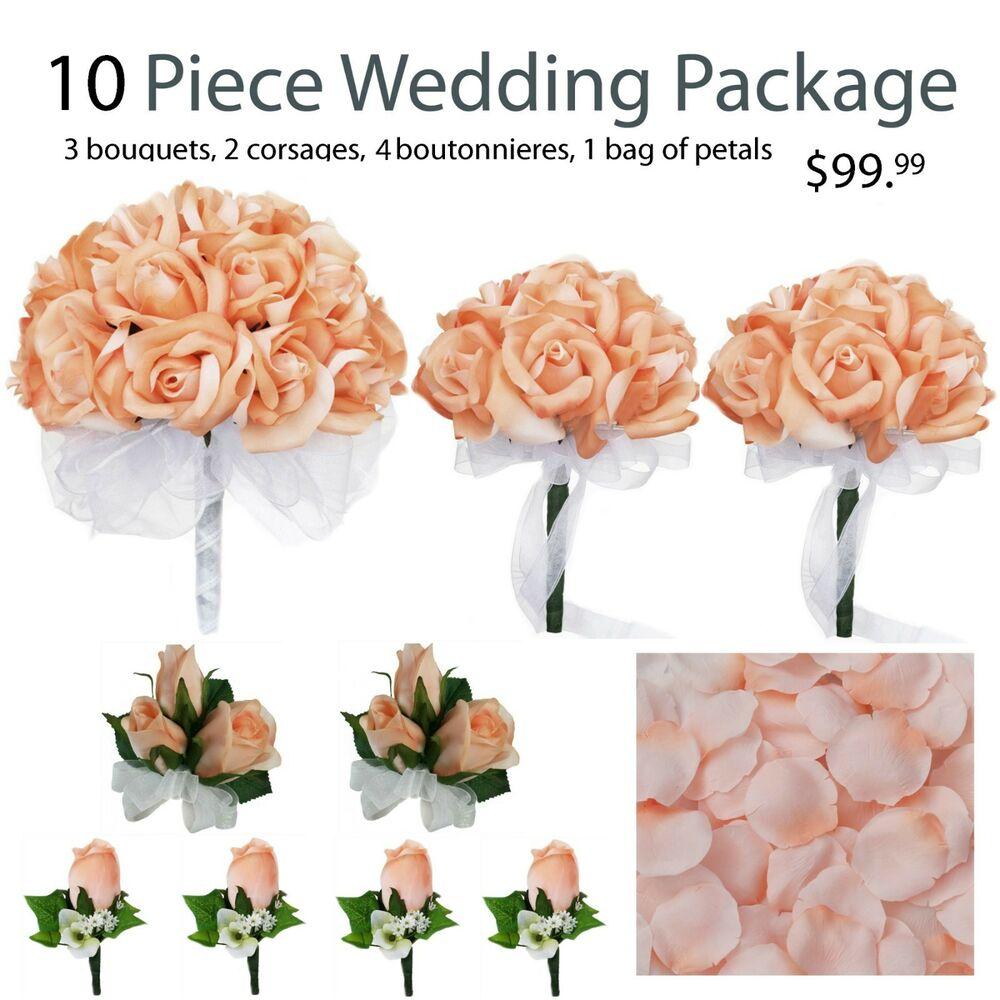 10 Piece Wedding Package Silk Wedding Flowers Peach Bridal Bouquets ...