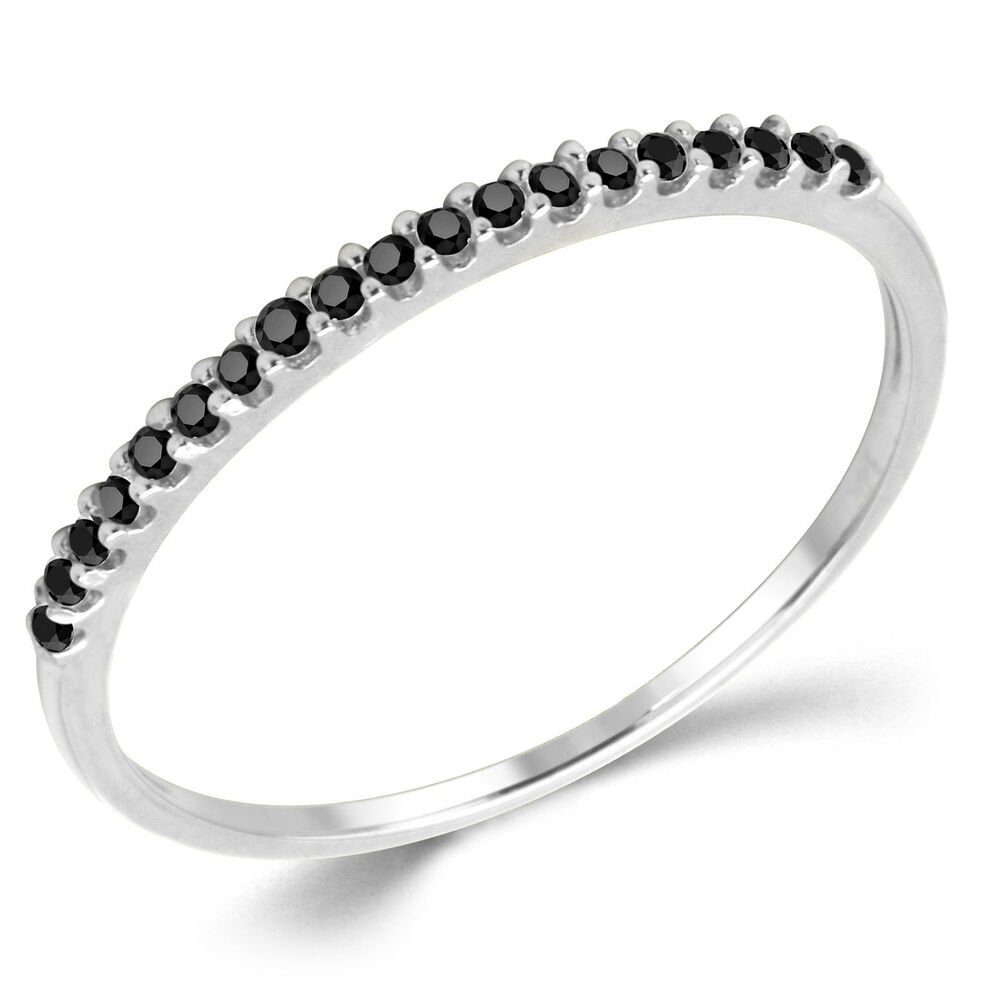 White Gold Cz Stackable Rings