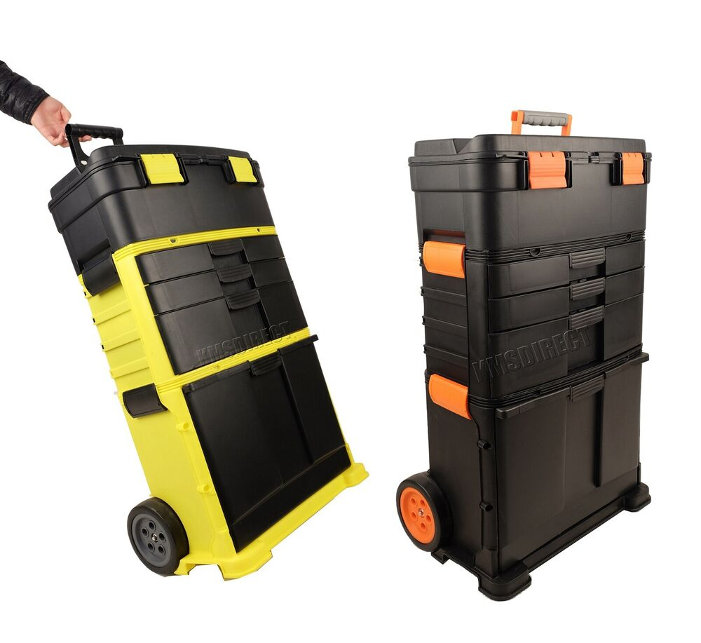 Foxhunter Plastic Mobile Roller Work Shop Chest Trolley