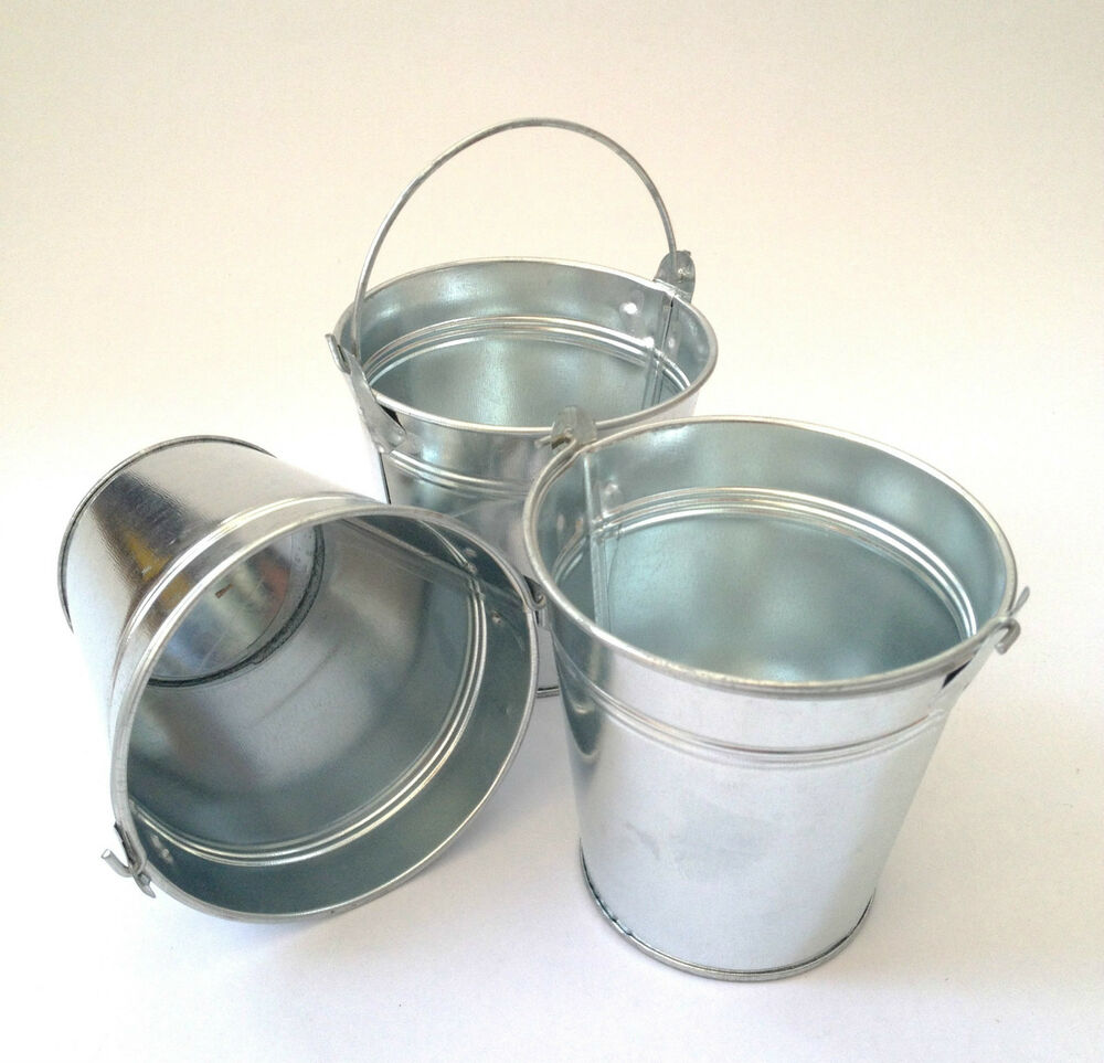 Set of 3 6 or 12 small metal buckets party food wedding for Small pail buckets