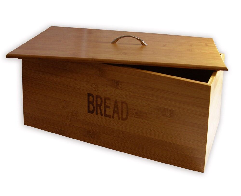 new bamboo wood wooden large bread bin food storage container with lid kitchen ebay. Black Bedroom Furniture Sets. Home Design Ideas