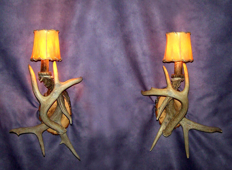 Real Antler Whitetail Deer Wall Sconce 1 Light Rustic