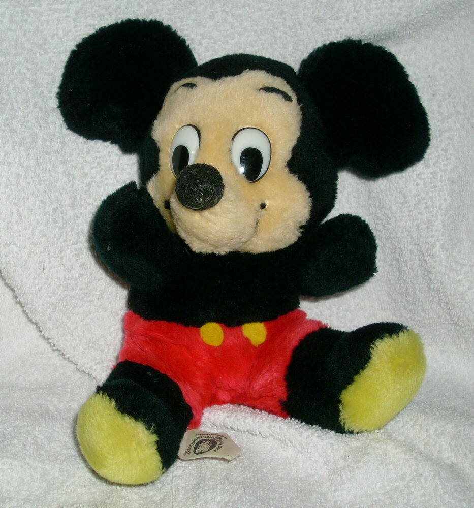"8"" VINTAGE WALT DISNEY PRODUCTIONS MICKEY MOUSE STUFFED ..."