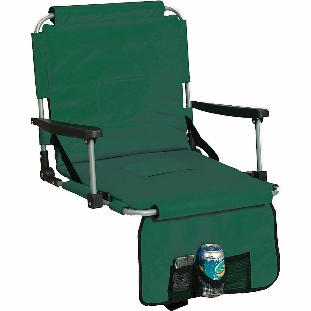 Green Stadium Cushion Chair Arm Cup Holder Portable