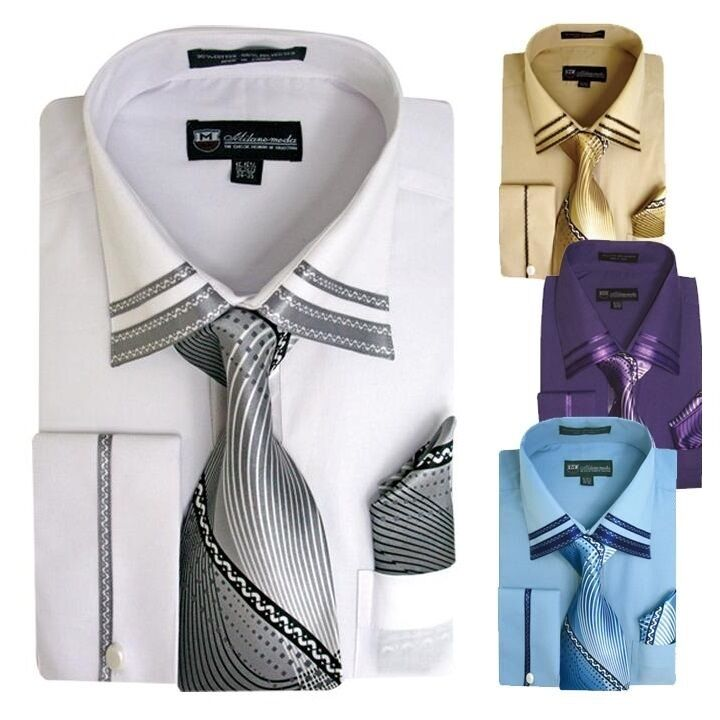 Men 39 s french cuff casual dress shirt matching tie and for Mens dress shirts french cuffs