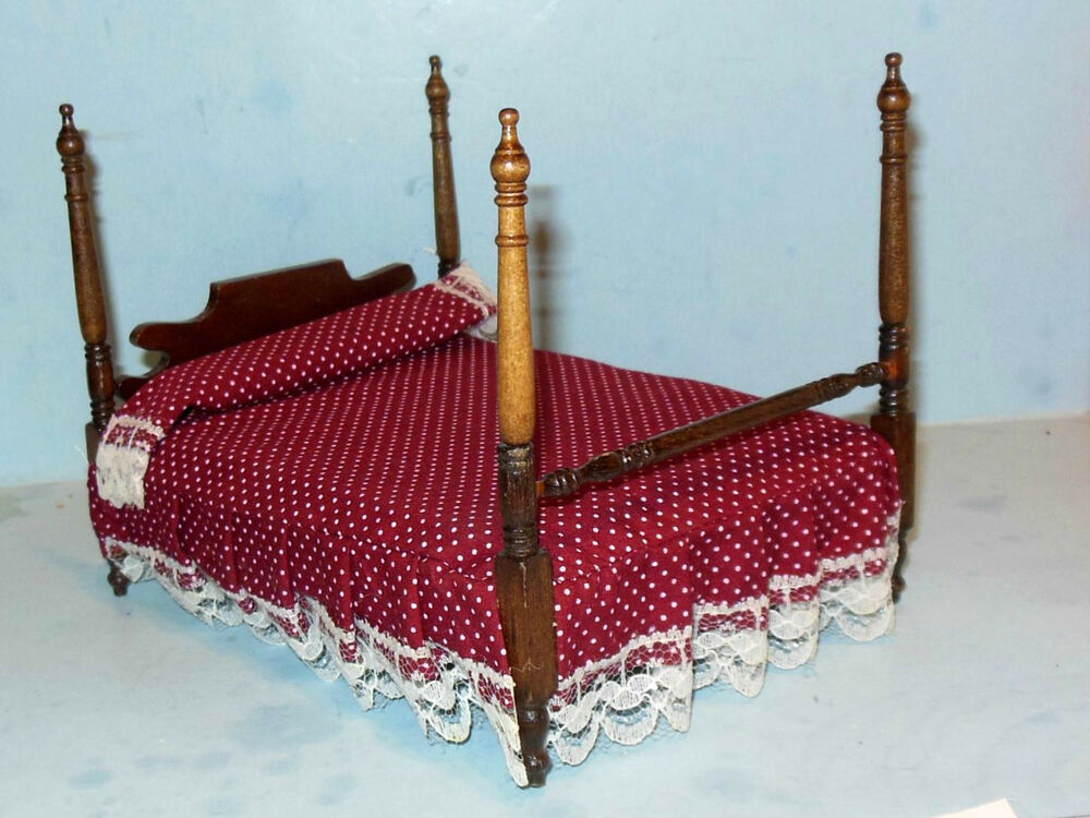 Four poster bed with bedding dollhouse furniture miniatures ebay - Bedspreads for four poster beds ...