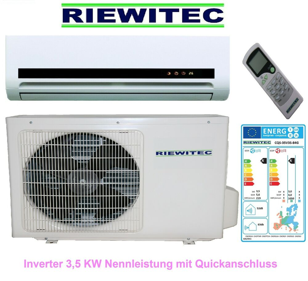 quickconnector inverter split klimaanlage riewitec 3 5 kw leistung neu ovp ebay. Black Bedroom Furniture Sets. Home Design Ideas