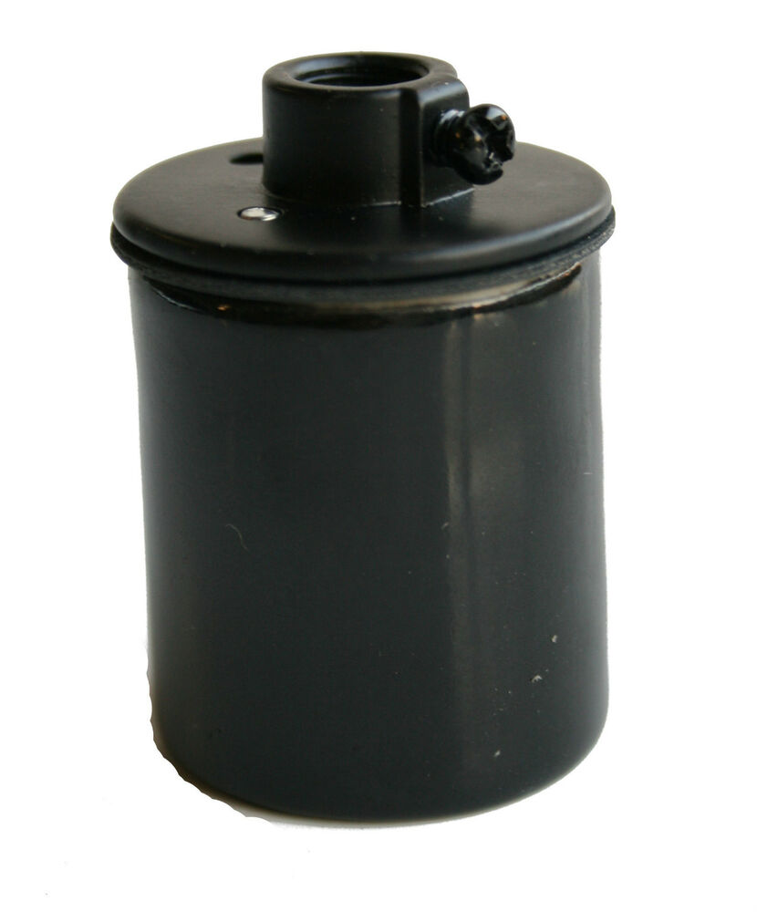 Porcelain black medium base socket w screw terminals