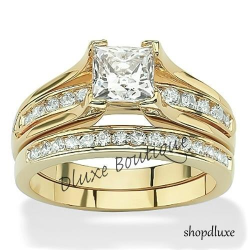 Womens 14k Gold Plated Princess Cut AAA CZ Wedding Ring Set Size 5678910