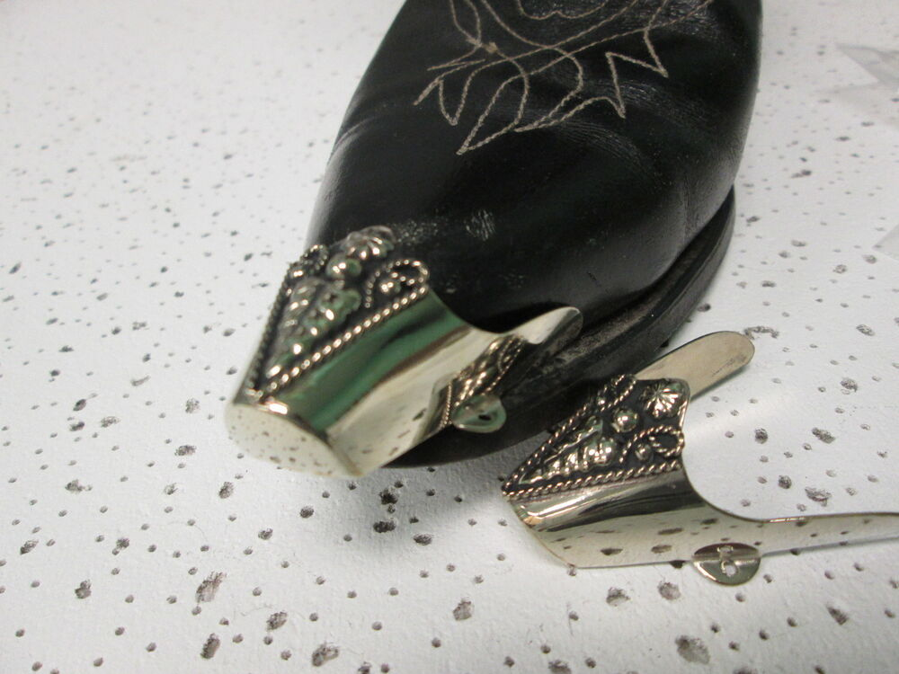 boot flat tips set silver tone with western fancey ebay