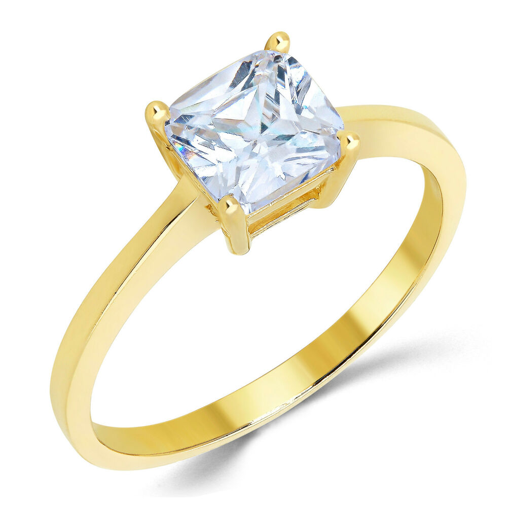 14K Solid Yellow Gold CZ Cubic Zirconia Solitaire Engagement Ring Ct