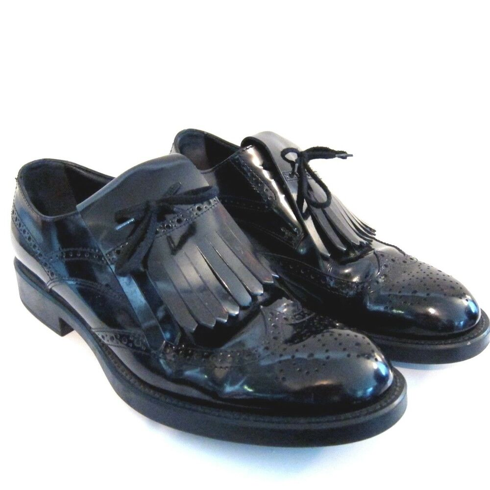 pre owned tods mens black patent leather dress shoes size
