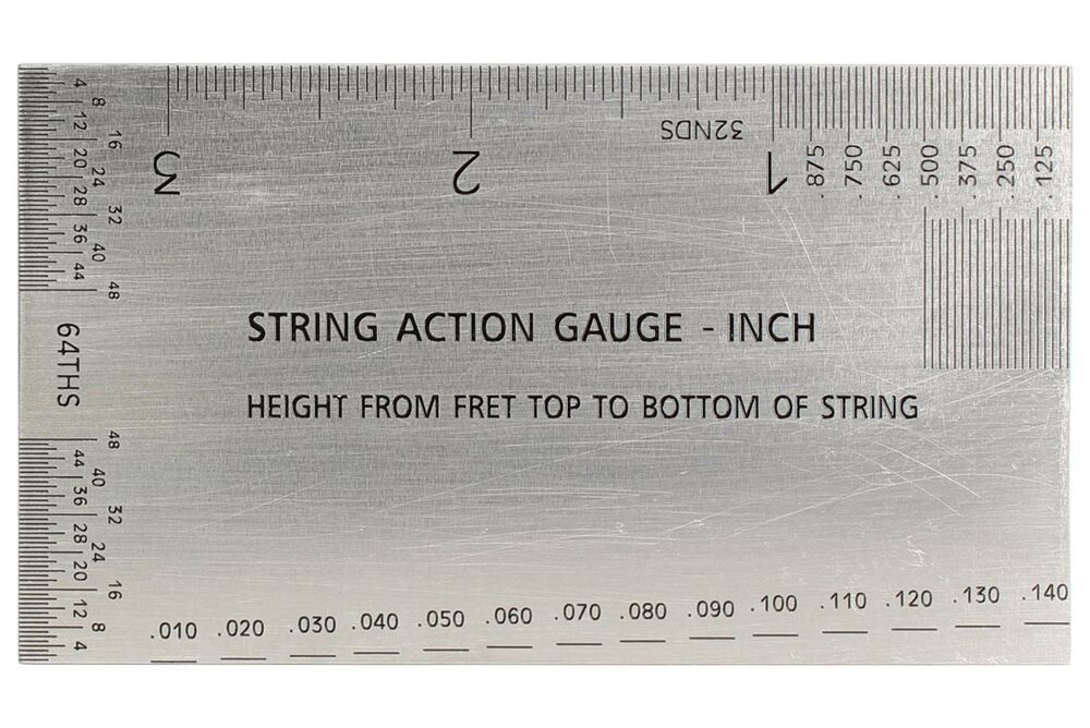 guitar string action setup gauge inch ruler with conversion chart on back ebay. Black Bedroom Furniture Sets. Home Design Ideas