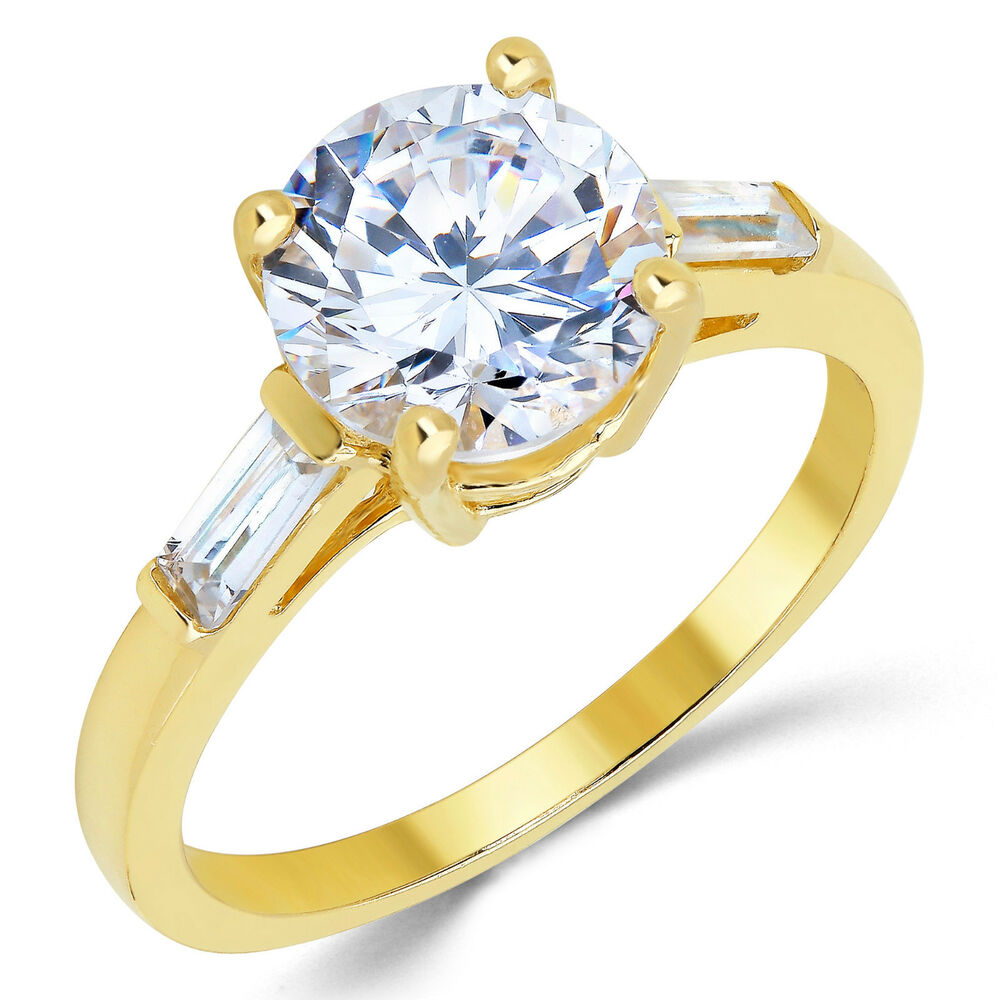 Cubic Zirconia Rings K Yellow Gold