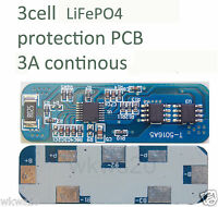 3 cell 3A LiFePo4 Lithium ion phospate Battery Input Ouput Protection PCB A123