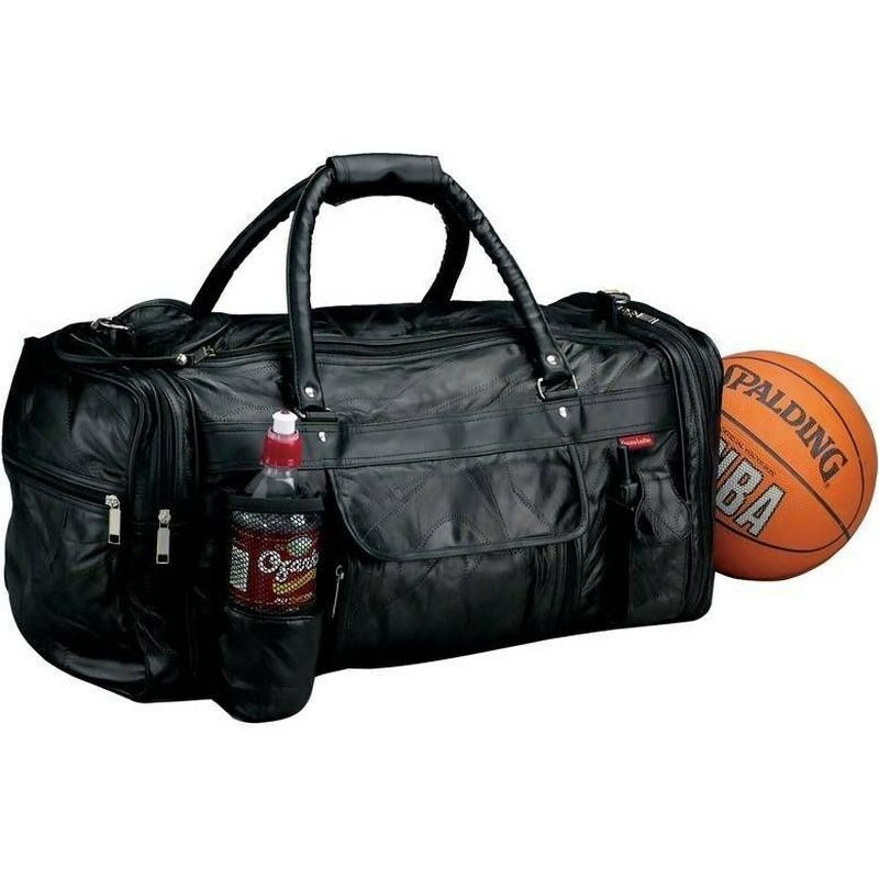 Black Leather Gym Duffle Bag W Bottle Men Carry On Women