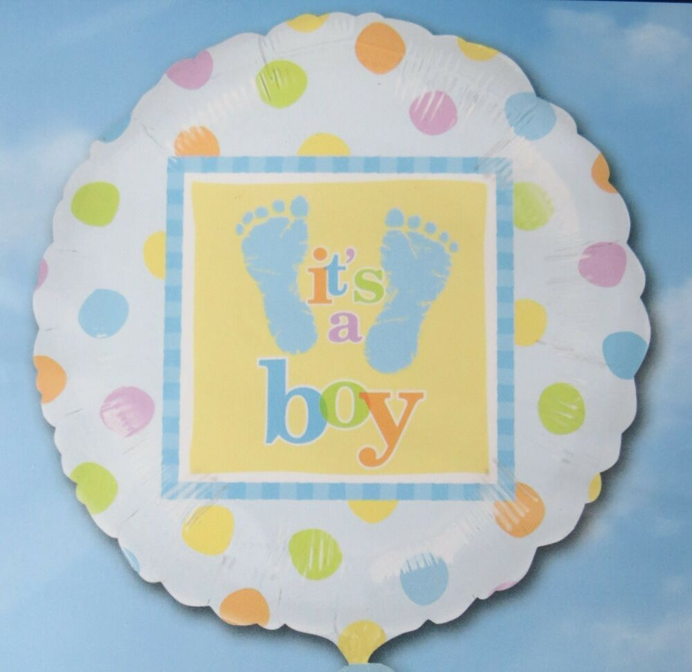 Baby Shower Balloons ~ It s a boy quot balloon polka dot baby shower foil mylar