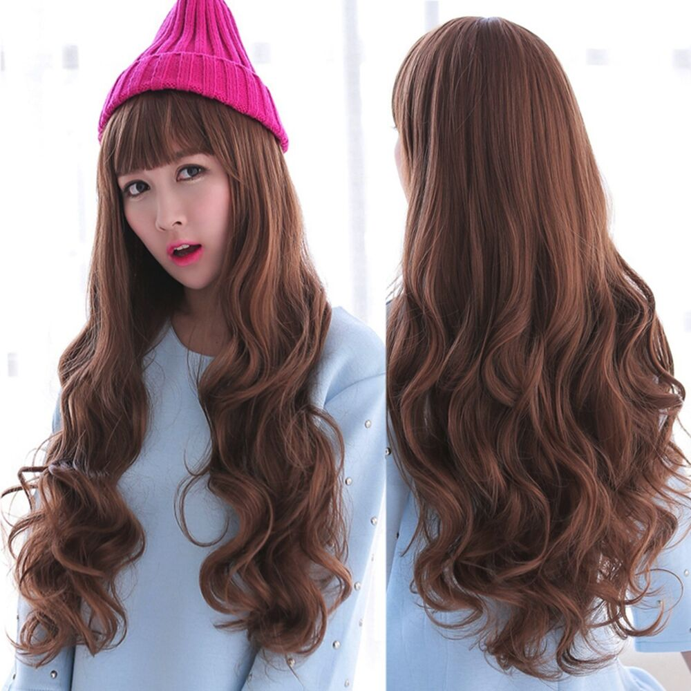 ... Deep Curly Wavy Long Brown Hair Full Wigs Cosplay Party Wig | eBay
