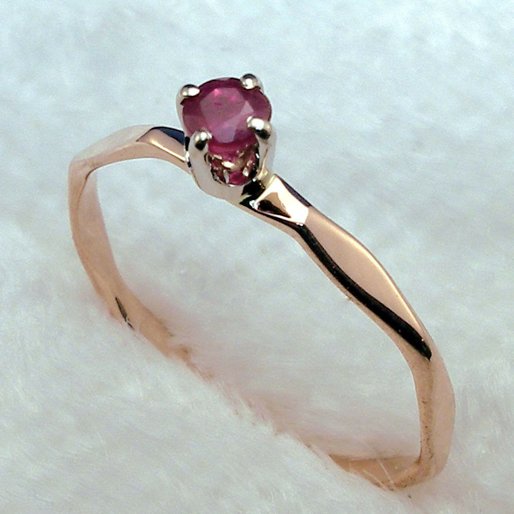 Ruby Baby Keepsake Ring Hand Crafted 14k Rose Gold July