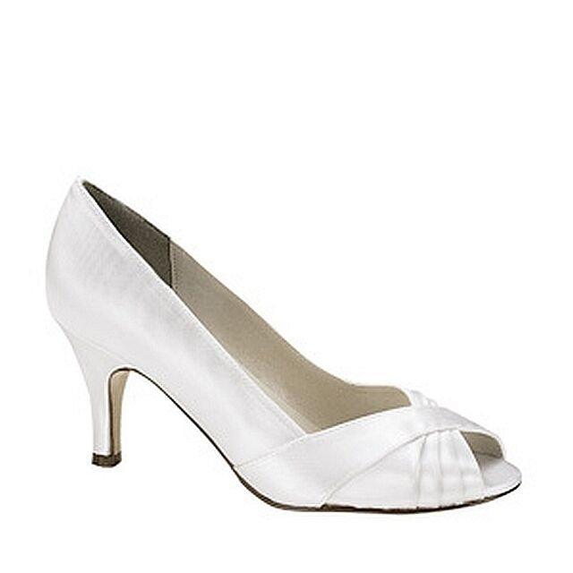 1 Inch Heels For Wedding: Dyeable White Satin 2 1/2 Inch Low Heel Pump Prom Bridal