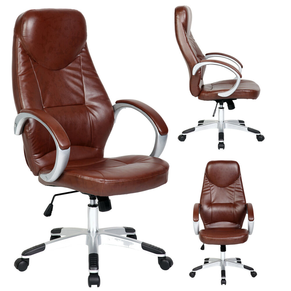 High Tall Brown PU Leather Office Executive High Back Arm Chair Adjustable Se