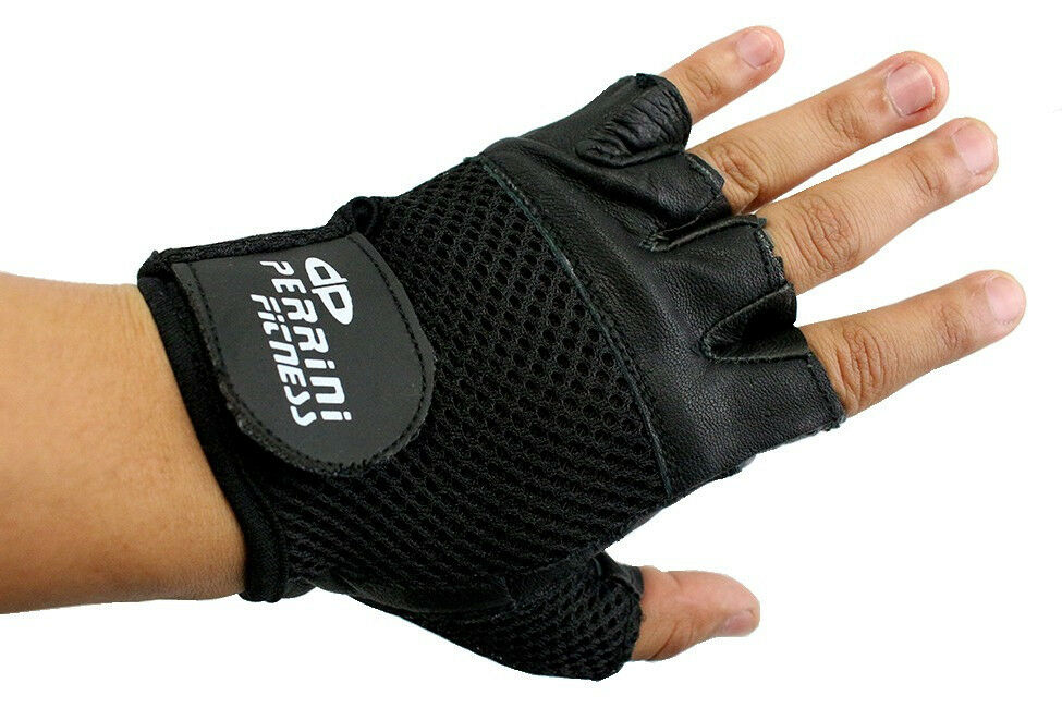 Leather Fingerless Gloves Work Exercise Training & Lifting ...