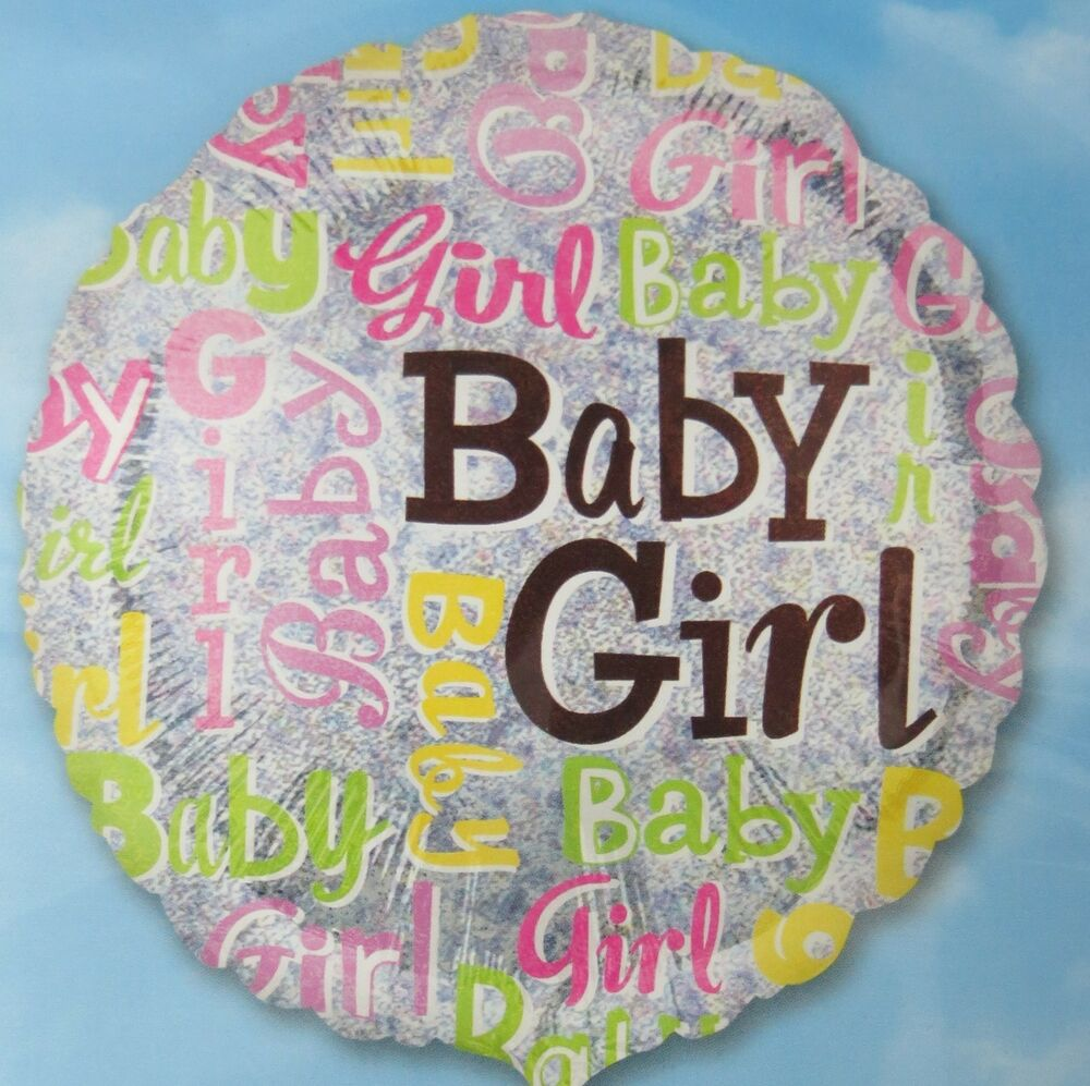 Baby girl 18 balloon holographic baby shower foil mylar for Balloon decoration for baby girl