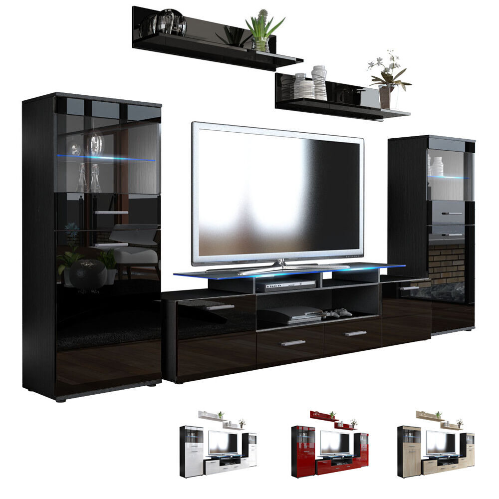 wall unit living room furniture almada v2 black high gloss natural