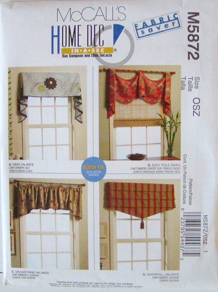 Mccalls pattern 5872 window treatment valance swag easy for Simple curtain patterns