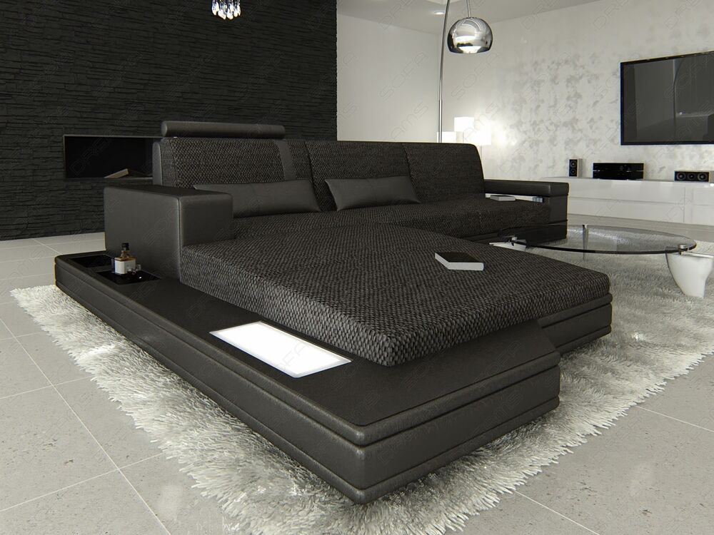 stoffsofa wohnlandschaft messana l form materialmix schwarzgrau mit beleuchtung ebay. Black Bedroom Furniture Sets. Home Design Ideas