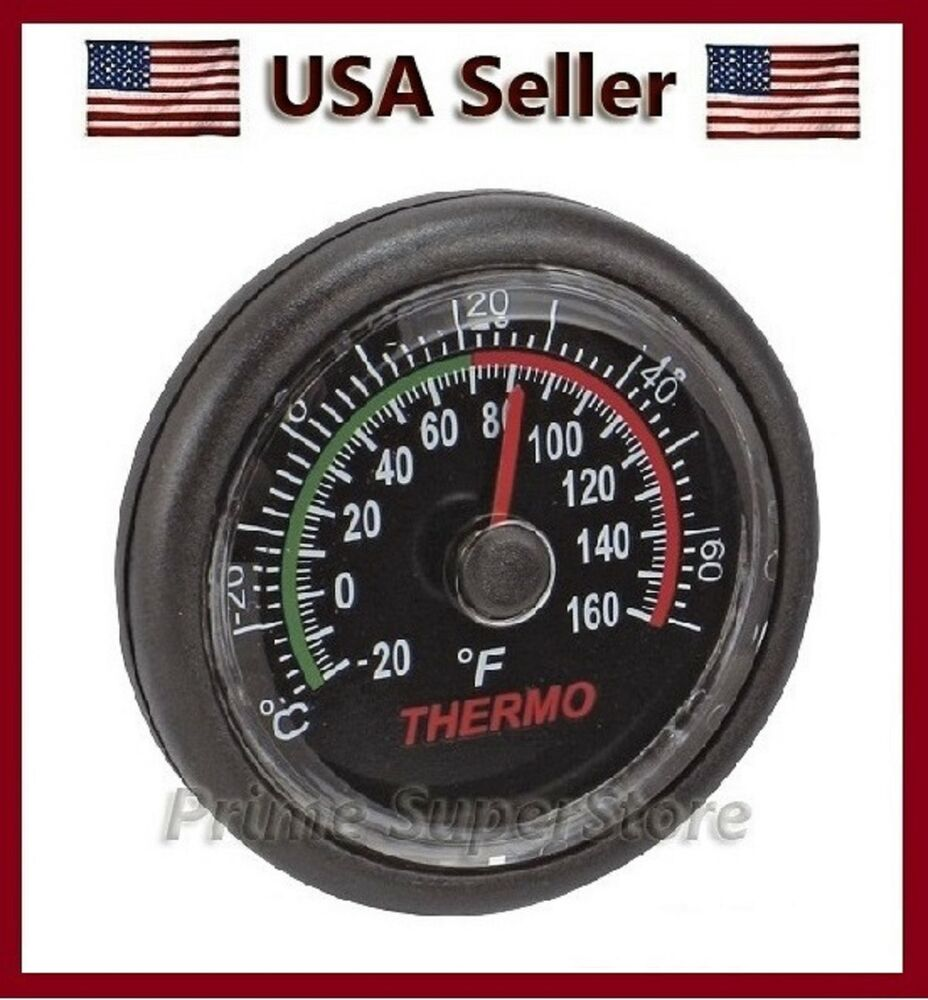 black small thermometer clock car rv boat temp gauge monitor indoor temperature ebay. Black Bedroom Furniture Sets. Home Design Ideas