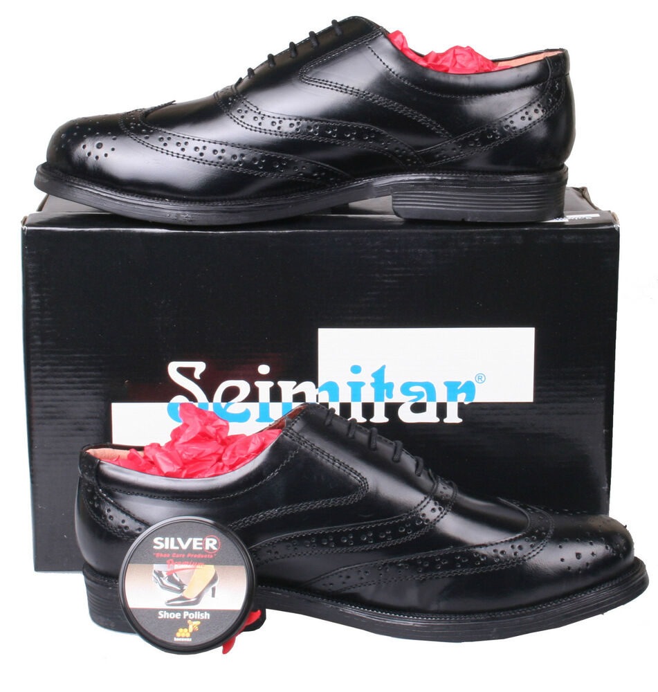mens black leather formal brogue dress shoes size 6 7 8 9
