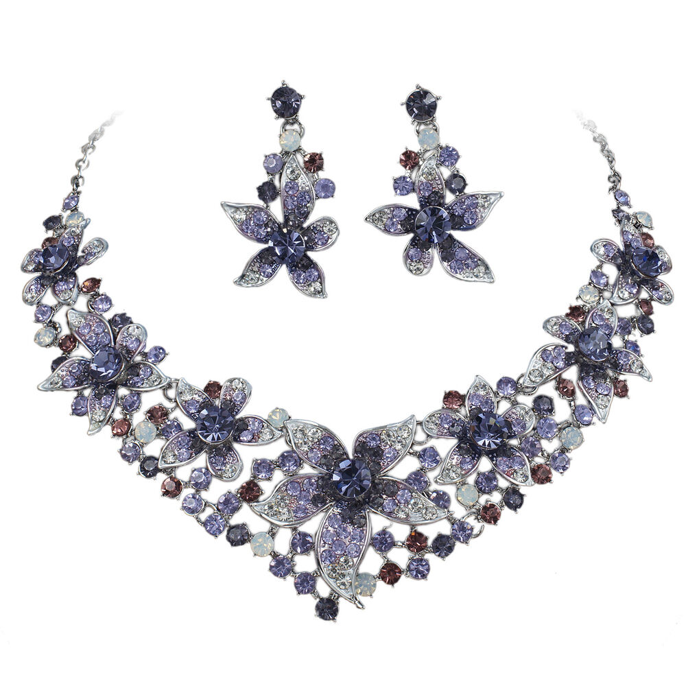 yt247 purple rhinestone crystal earrings necklace set
