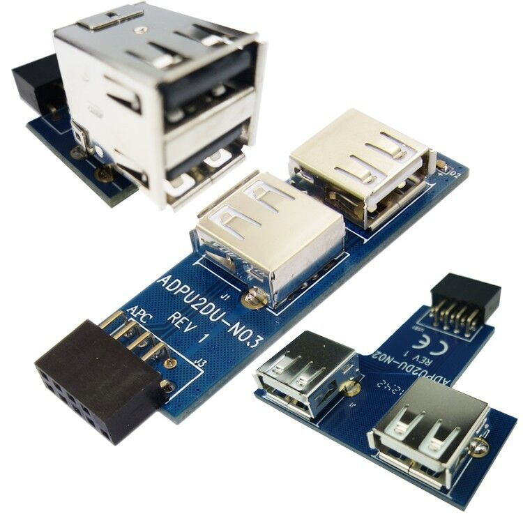 9 10 Pin Motherboard Usb Header To 2 Ports Usb 2 0 A