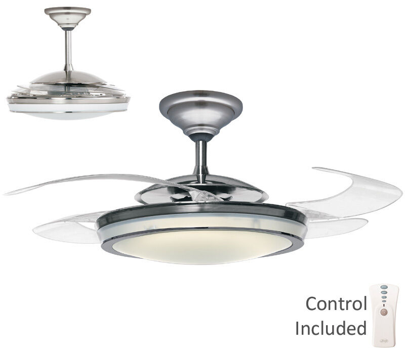 ... BRUSHED NICKEL RETRACTABLE BLADE REMOTE LIGHT Ceiling Fan | eBay
