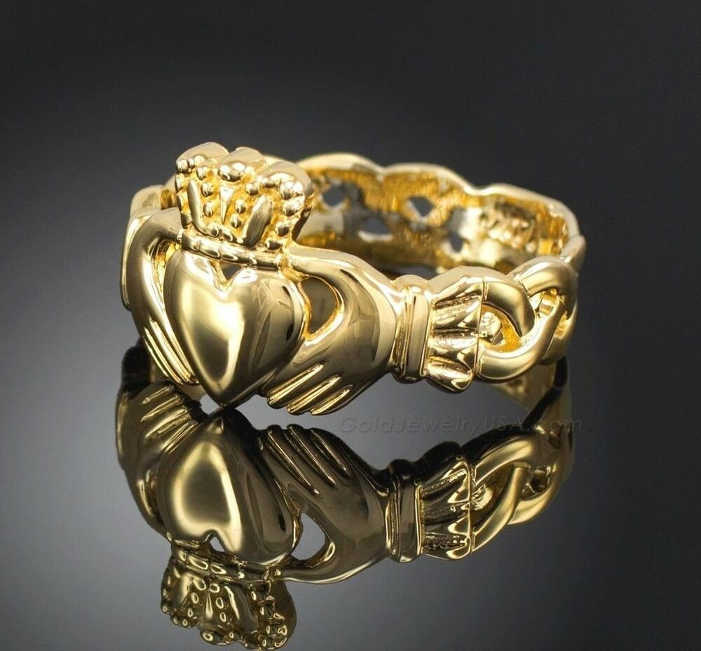 Ladies Gold Claddagh Ring with Trinity Band | eBay