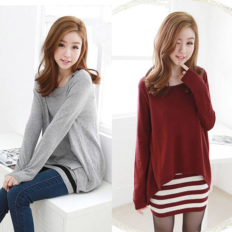 Korean Fashion Women Casual Loose Slim Striped Vest Blouse To Tunic Dress 2pcs Ebay