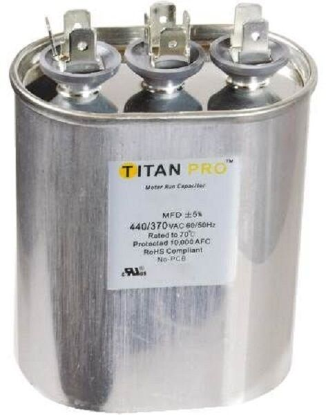 Titan tocfd605 60 5 mfd 440 370 oval dual run capacitor for 370 volt 10 mfd motor run oval capacitor