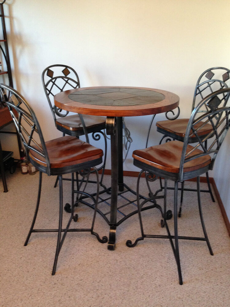 Dining set beautiful wood and slate ebay for Beautiful dining sets