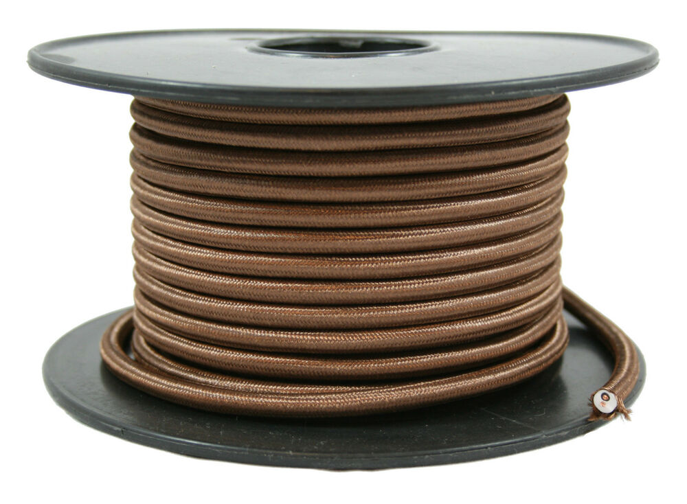 brown cloth covered cord 2 conductor round antique style vintage. Black Bedroom Furniture Sets. Home Design Ideas