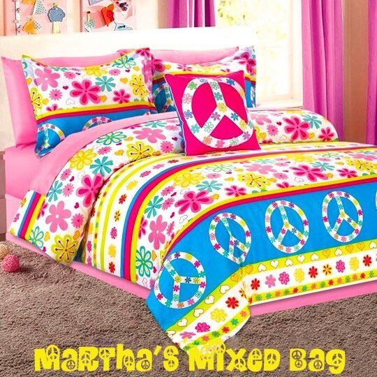 Peace signs flower blossoms girl pink yellow twin full size comforter