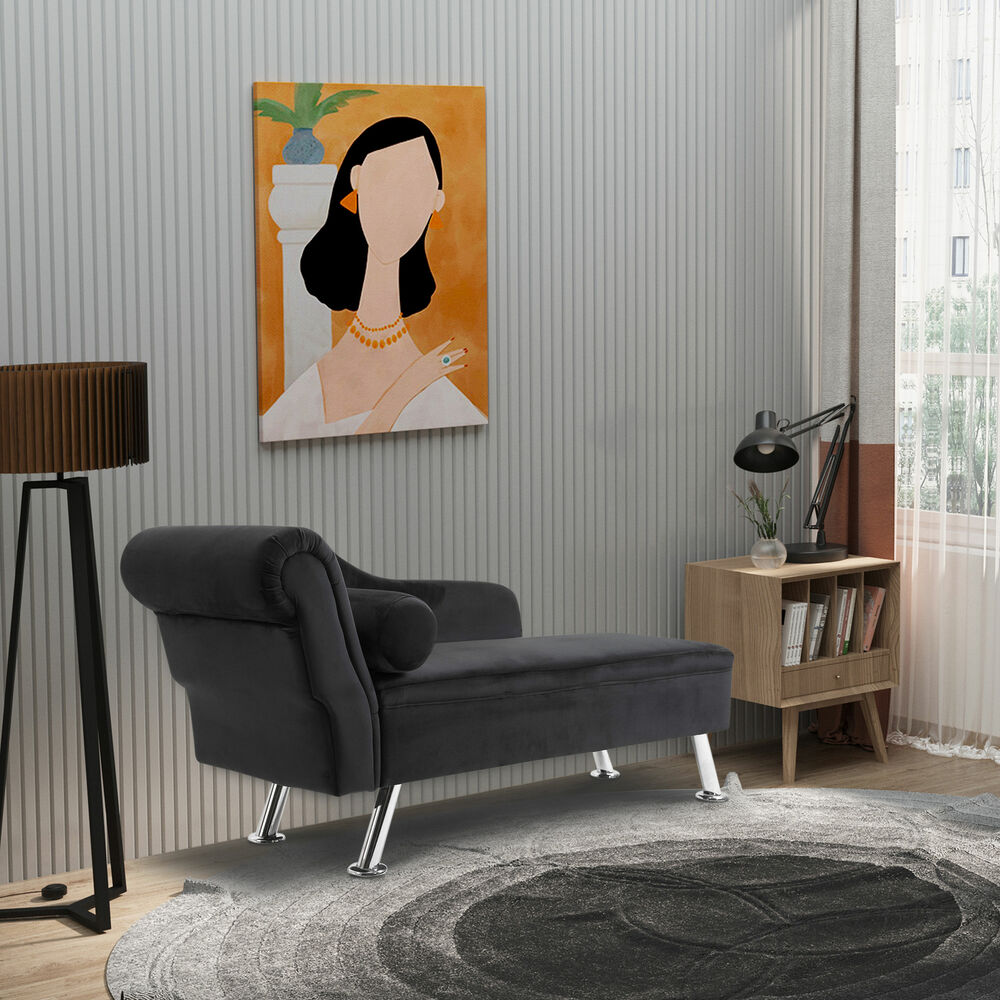 Deluxe velvet chaise longue lounge sofa day bed with for Black chaise lounge sofa