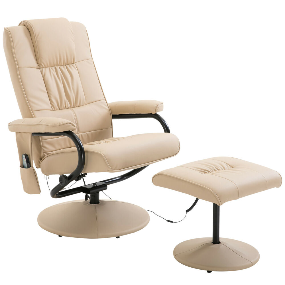Electric Massage Chair Sofa Recliner Foot Stool 10 Point Massager Heat Beige