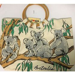 2x Australian Souvenir Travel Bag with Wooden Handles - 5 Designs To Choose From