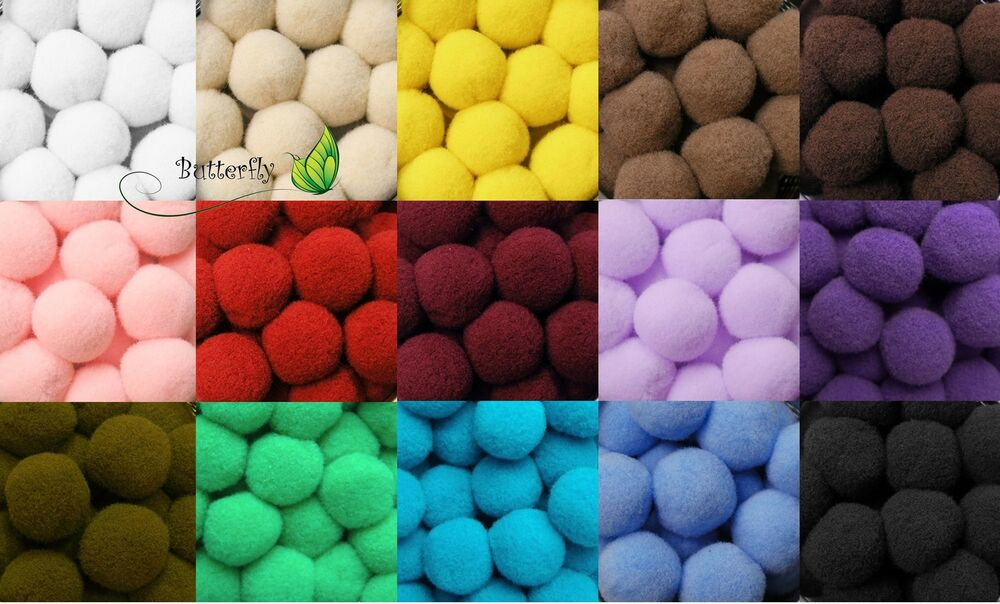 100 pompons 20mm bommel basteln n hen filz watte kugeln b lle murmeln 2cm ebay. Black Bedroom Furniture Sets. Home Design Ideas