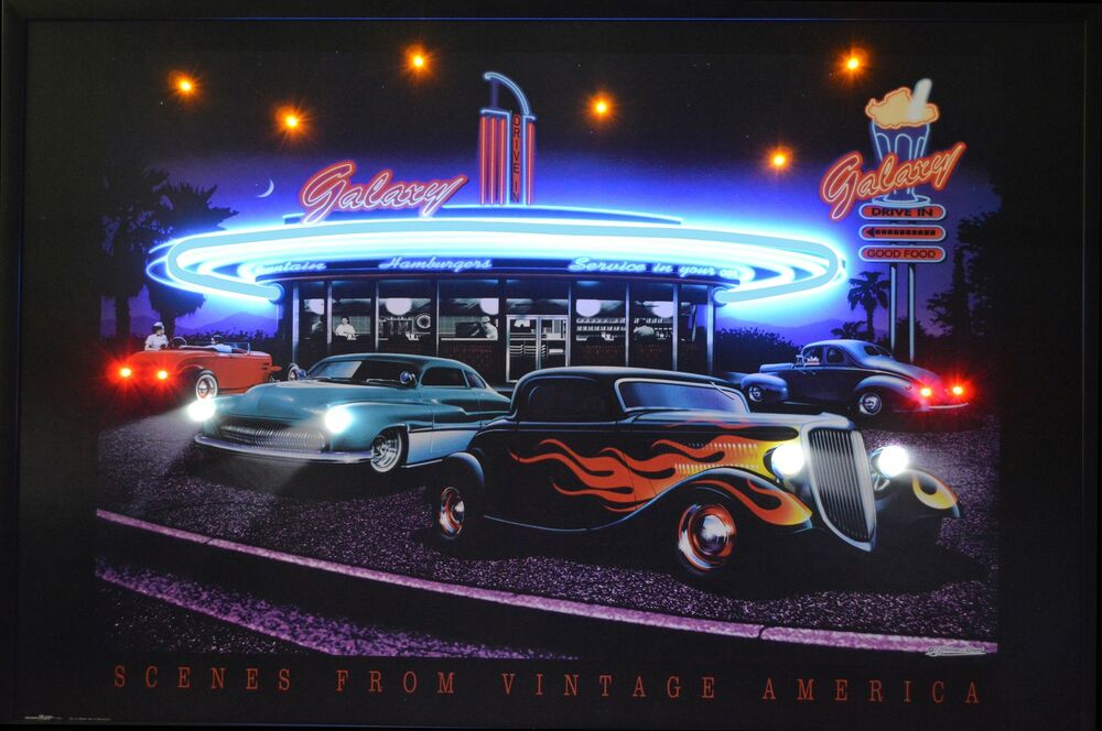 Drive In Galaxy Diner Neon Led Poster Sign Man Cave Garage