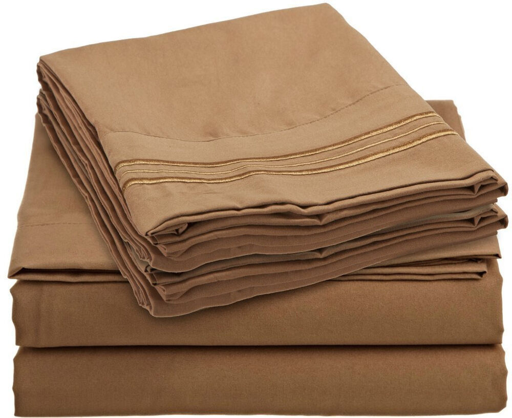 1500tc 4 Piece Bed Sheet Set Mocha Brown Color Full Queen