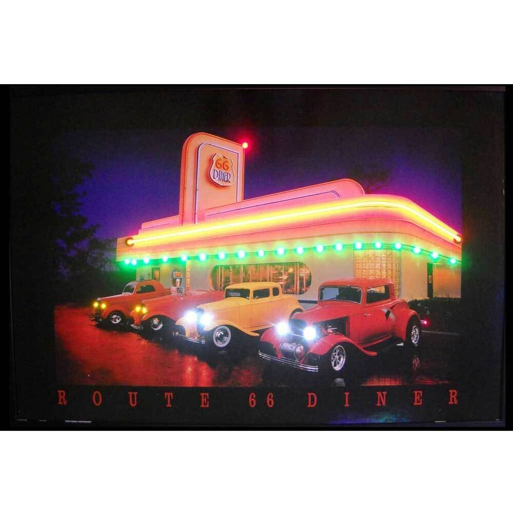 Route 66 Drive In Diner Neon Led Poster Sign Garage Lamp